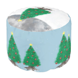 雪のシート・クッションのPoufのクリスマスツリー プーフ