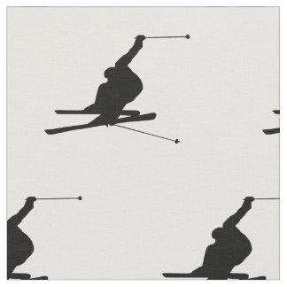 雪のスキーヤーのシルエット ファブリック