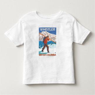雪のスキー-ホイスラー、紀元前にカナダ--を運んでいるスキーヤー トドラーTシャツ