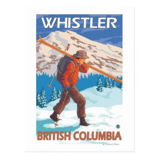 雪のスキー-ホイスラー、紀元前にカナダ--を運んでいるスキーヤー ポストカード