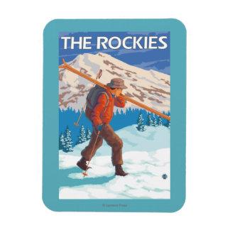 雪のスキー-ロッキー山脈--を運んでいるスキーヤー マグネット