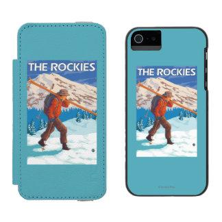 雪のスキー-ロッキー山脈--を運んでいるスキーヤー iPhone SE/5/5sウォレットケース