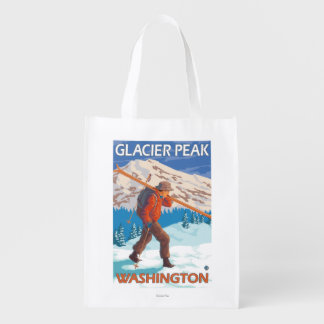 雪のスキー-氷河ピーク、WA --を運んでいるスキーヤー エコバッグ