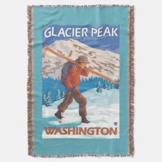 雪のスキー-氷河ピーク、WA --を運んでいるスキーヤー スローブランケット