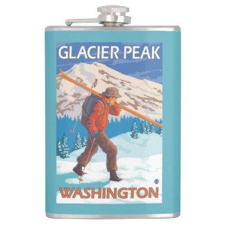 雪のスキー-氷河ピーク、WA --を運んでいるスキーヤー フラスク