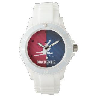 雪のスキー; 赤く、白い、および青 腕時計