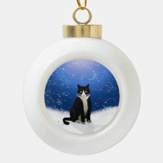 雪のタキシード猫 セラミックボールオーナメント