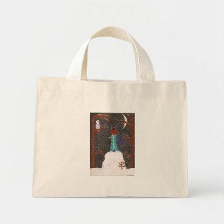雪のダックスフントのバッグ ミニトートバッグ