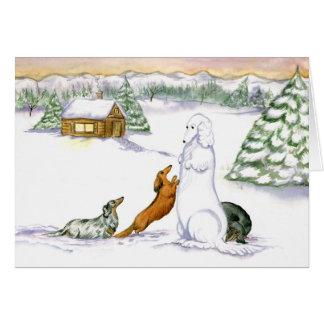 雪のダックスフントの休日カード カード