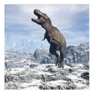 雪のティラノサウルス・レックス- 3Dは描写します アクリルウォールアート