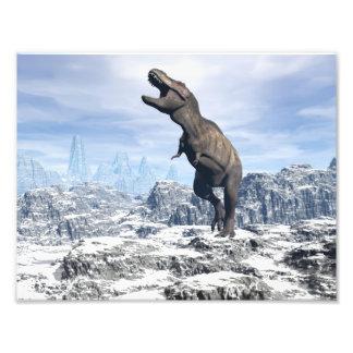 雪のティラノサウルス・レックス- 3Dは描写します フォトプリント