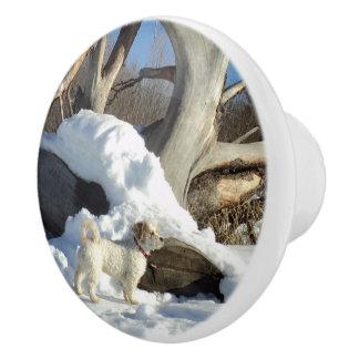 雪のドア・ノブの犬 セラミックノブ