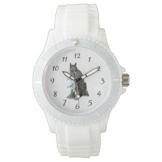 雪のノウサギのウサギの絵画のアメリカワシミミズク 腕時計