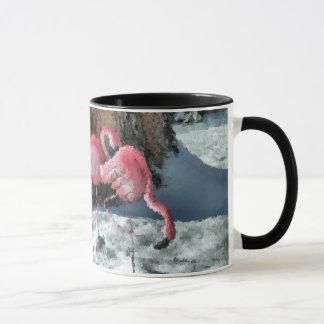 雪のフラミンゴ-コーヒー・マグ マグカップ