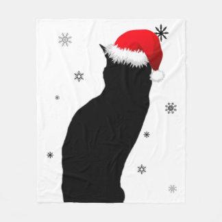 雪のフリースブランケットを持つクリスマス猫 フリースブランケット