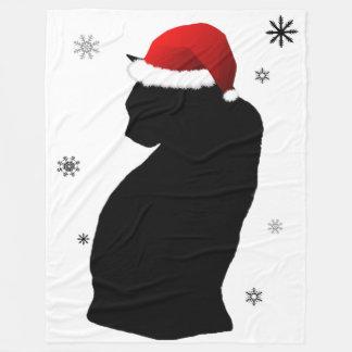 雪のフリースブランケットを持つサンタ猫 フリースブランケット