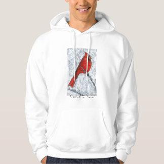 雪のフード付きスウェットシャツの(鳥)ショウジョウコウカンチョウ パーカ