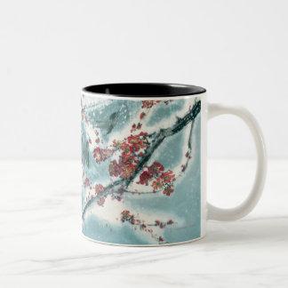 雪のプラム花 ツートーンマグカップ