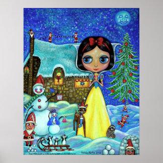 雪のホワイトクリスマスポスター ポスター