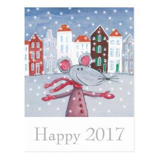 雪のマウスの明けましておめでとうカード幸せな2017年 ポストカード