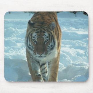 雪のマウスパッドで先に歩いているシベリアトラ マウスパッド