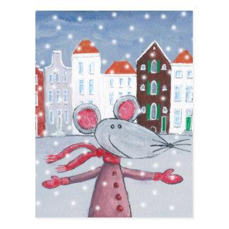 雪のマウス ポストカード