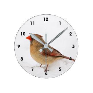 雪のメスの(鳥)ショウジョウコウカンチョウ ラウンド壁時計