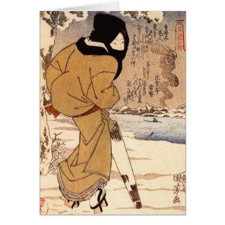 雪のメッセージカードのKuniyoshiの女性の歩く カード
