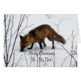 雪のメリークリスマスの息子キツネ カード