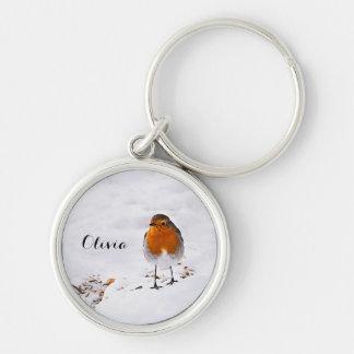 雪のロビンのカスタムでかわいい鳥は名前を加えます キーホルダー