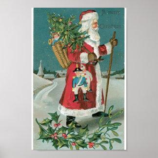 雪のヴィンテージサンタクロース ポスター