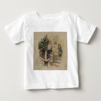 雪のヴィンテージサンタ ベビーTシャツ