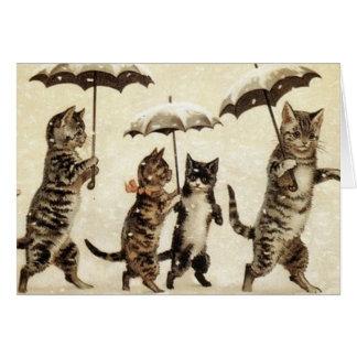 雪のヴィンテージ猫歩く グリーティングカード