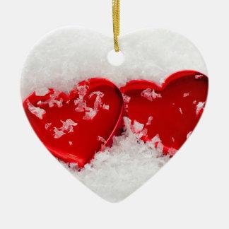 雪の両面のハートのオーナメントの愛ハート セラミックオーナメント