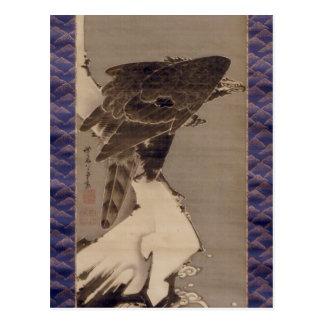 雪の中の鷲、雪の若冲のワシ、Jakuchu ポストカード