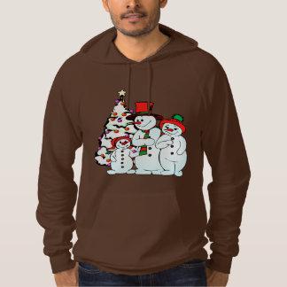 雪の人家族のフリースのプルオーバーのフード付きスウェットシャツ パーカ