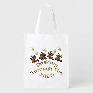 雪の再使用可能な買い物袋を通って紛砕 エコバッグ