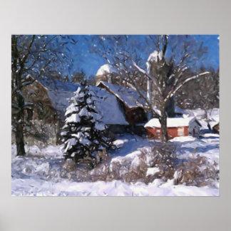雪の冬のプリントの農場及び赤い納屋 ポスター