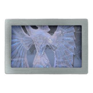 雪の冬の彫刻の天使のキリスト教の信頼 長方形ベルトバックル