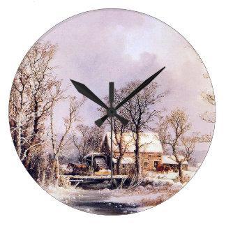 雪の冬の農場の入り江の馬のそりの柱時計 ラージ壁時計