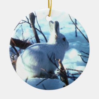 雪の北極ノウサギ セラミックオーナメント