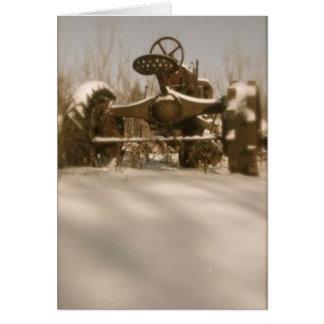 雪の古いトラクター: ブランク カード