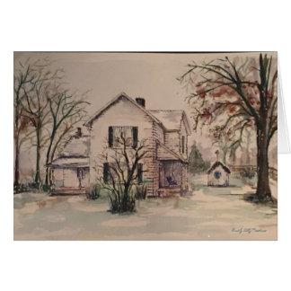 雪の古い農家、水彩画 カード