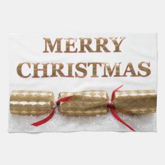 雪の台所タオルのメリークリスマスの金ゴールドメッセージ キッチンタオル