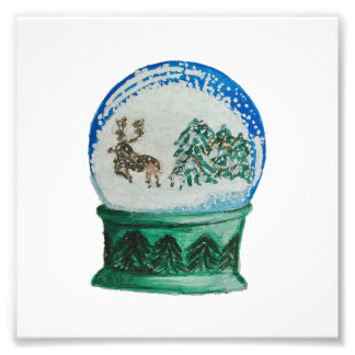雪の地球のガラス玉の冬の不思議の国のクリスマス フォトプリント