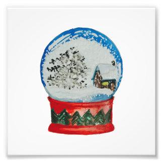 雪の地球のクリスタル・ボールの冬の村のクリスマス フォトプリント
