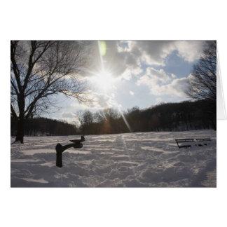 雪の夕べの噴水 カード