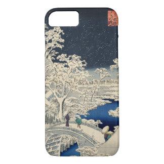 雪の太鼓橋、広重のSnowyのドラム橋、Hiroshige、Ukiyo-e iPhone 8/7ケース