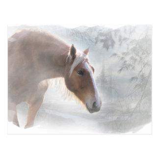 雪の季節の挨拶の郵便はがきの馬 ポストカード