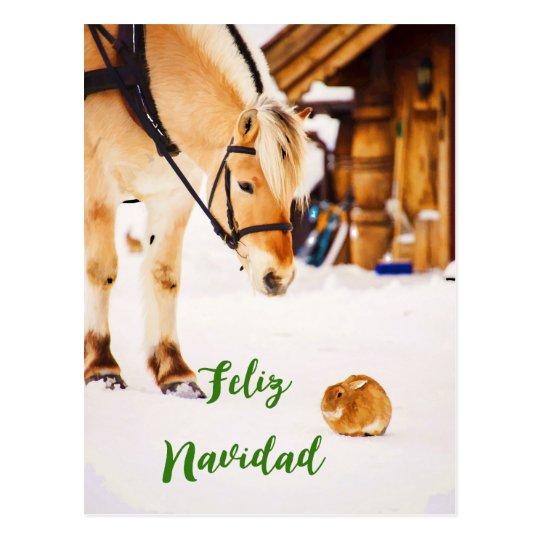 雪の家畜とのFeliz Navidadのクリスマス ポストカード